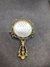 Vintage Mini Hand Held Brass Mother Of Pearl Mirror