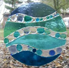 Abstract Ocean Wave Blue and Turquoise Fused Stained Glass Handmade Window Panel