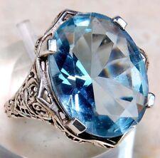 9CT Aquamarine 925 Solid Sterling Silver Filigree Ring Jewelry Sz 6