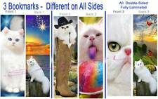 3-White Cat Bookmark Persian Long Hair Blue/Gold Eyes Art Book Card Figurine