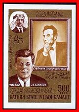 ADEN / SOUTH ARABIA 1968 KENNEDY / LINCOLN imperforated   MNH