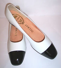 Delman Shoes 9.5 AAA Narrow White Leather Low Heel Black Cap Toe Pumps New NWOB