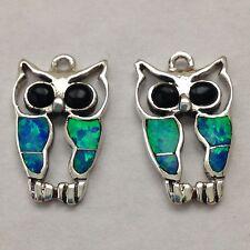 Sterling Silver Handmade Inlay Owl Blue Opal Hook Dangle Earrings