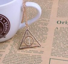 HARRY POTTER DEATHLY HALLOWS SILVER PENDANT WITH BLACK FAUX LEATHER NECKLACE