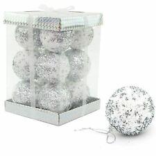 12 Silver Glitter Baubles Soft Foam Christmas Tree Decorations Xmas Home Decor