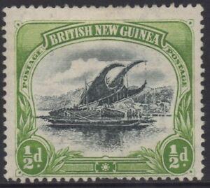 PAPUA(BNG) 1901-05 1/2d BLACK AND YELLOW GREEN LAKATOI MH WMK VERTICAL SG.9