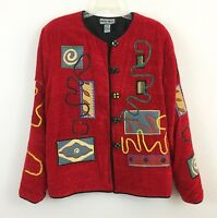 Indigo Moon Red Abstract Print Applique Jacket Boho Coat Artsy Jacket SZ Large