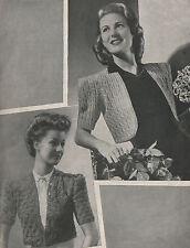 Vintage Knitting & Crochet Pattern 1940s Lady's Boleros/Short Jackets