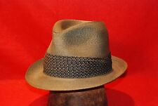 """Grey Cavanagh Straw Fedora Vintage Hat size 7"""" with Navy Blue Band"""