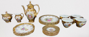 Bareuther and STW Bavaria Germany Courting Scene and Flowers Gold Tea Set