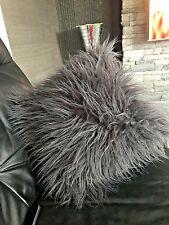 "Cushions Set of 4 Silver grey Long faux fur Cushion covers  17""x17"""