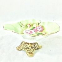 LEFTON CHINA GREEN HERITAGE ROSE SHALLOW DISH NAPPY SOAP DISH ON STAND #1860