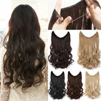 "16""-24"" Invisible Wire One Piece Secret Miracle Wavy Curly Human Hair Extensions"