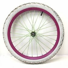 """Complete 20"""" Bicycle Front Pink Wheel with 1.95"""" White Tire Bmx Kid's Bike #F57"""