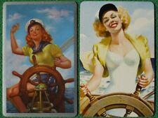 Pinup Sailor Girls Art Swap Cards Beauties at Ship's Helm Vintage Original WOW !