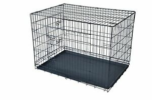 "Folding Dog w/Divider Cat Crate Cage Kennel w/Tray LC Black48"" 2 Door Pet Cage"