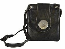 Moroccan Handbag Carved Leather  Evening Shoulder Strap  Bag iPad-Purse  Black