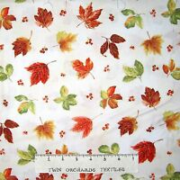 Fall Autumn Fabric - Bountiful Harvest Leaf Toss Cream - Red Rooster YARD