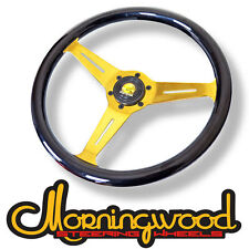 "MORNINGWOOD BLACK/GOLD STEERING WHEEL 360MM/14"" DEEP DISH CLASSIC STYLE P4"