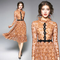 2018 spring women's fashion temperament stand collar sweet lace hollow out Dress