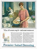 1920s BIG Vintage Premier Salad Dressing Hayden Hayden Lady Kitchen Art Print Ad