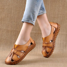 Women Breathable Handmade Hollow Ethnic Style Real Leather Flat Shoes Sandals