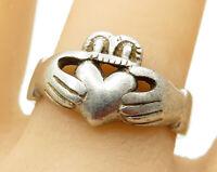 925 Sterling Silver - Vintage Irish Claddagh Band Ring Sz 10 - R5768