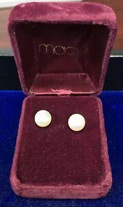 Macy's 14k Gold Cultured Pearl (8.5mm) Studs W/ Box