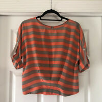 BCBGMAXAZRIA Women Orange Gray 3/4 Sleeve Silk Top Size XS