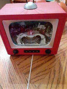 Retro Tv Town Scene w Animated Train Light Up Christmas Music Box