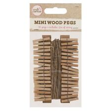 36 Mini Wooden Pegs With Jute String - Hold Photos Pictures Notes Scrapbooking