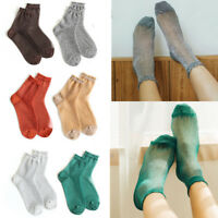 Fashion Glitter Ankles Socks Women Spring Summer Shiny Thin Casual Girls Sox
