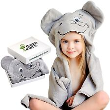 Dare4Care Elephant Hooded Baby Towel, 100% Cotton, 29x32 Inches, Grey, Unisex...