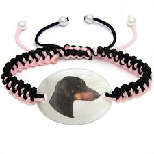 Adjustable Knot Bracelet Chain Bs69 Doberman Pinscher Natural Mother Of Pearl