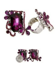 J13 Purple Cocktail Ring,One size-Stretch Ring with Crystals/Rhinestones