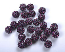 5Pcs Purple Czech Crystal Rhinestones Pave Clay Round Disco Ball Beads 10MM