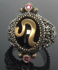 Barbara Bixby Sterling Silver & 18K Gold Horoscope Black Onyx Ring Leo  Size 7