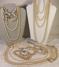 Vintage Pearl Jewelry Lot Marvella STrand Necklaces Bracelets Earrings Bracelets