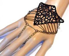 BLACK LACE CUTOUT GEOMETRIC SLAVE BRACELET cuff chain goth steampunk cage new R5