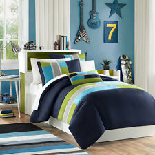 BEAUTIFUL MODERN BLUE GREEN STRIPE SPORTY DUVET COVER SET & PILLOW FULL QUEEN
