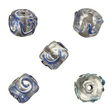 Transparent Spiral Blue Cube Glass Beads 10mm Pack of 5 (A84/12)