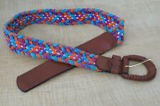 Express Compagnie Internationale Belt - Leather & Multi Color Cotton - Sz M