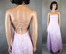 Open Back Prom Gown Jrs 5/6 Long Sleeveless Purple Chiffon Floral Flocked Dress
