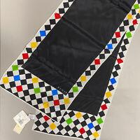 Vintage ECHO Scarf Black White Checkered Flag Rectangle 100% Silk Rare NWT NEW