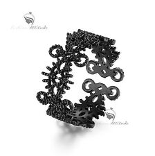 18k black rhodium plated eye of truth filigree lace ring small size