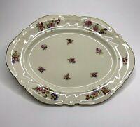 "Elfenbein Rosenthal Kronach Germany Viktoria Lombul Gold Oval Platter Plate 13"""