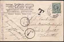 MALTA 1908 postcard ex Italy postage due 1d in circle.......................8840