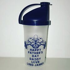 Personalised Protein Shaker Gym Fitness Bottle Any Name Quote Blue One Supplied