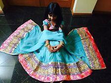 "36"" Age 11-14 TeenLahenga Choli Indian Bollywood Kids Dress Girl Skirt Aqua Pink"