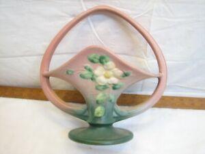 Roseville White Rose Blossom Handled Basket Planter Vase 363-10